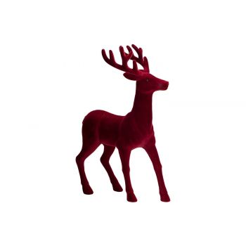 Cosy @ Home Deer Flocked Dark Red 22x12xh28cm Synthe