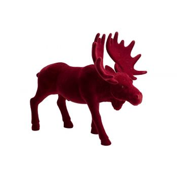 Cosy @ Home Elk Flocked Dark Red 42x24xh36cm Synthet