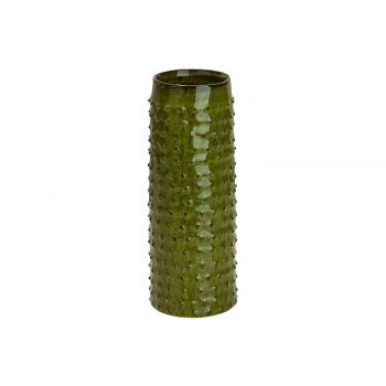 Cosy @ Home Vase Glazed Embossed Dots Green 9,5x9,5x
