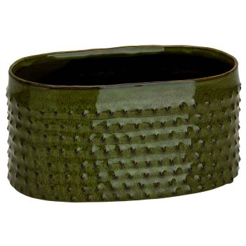 Cosy @ Home Planter Glazed Embossed Dots Green 22x13