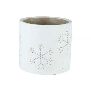 Cosy @ Home Flowerpot Snowflake White 11x11xh10,5cm