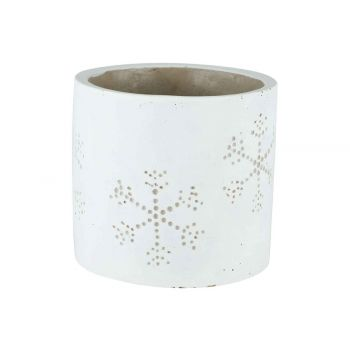 Cosy @ Home Flowerpot Snowflake White14x14xh13cm Cyl