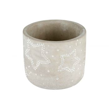 Cosy @ Home Flowerpot Stars Grey 14x14xh13cm Round C