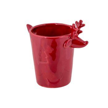 Cosy @ Home Flowerpot Deer Red 12,8x8,6xh12,4cm Ston