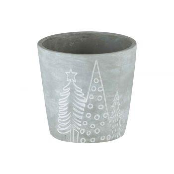 Cosy @ Home Flowerpot Xmas Trees Grey 10,8x10,8xh10,