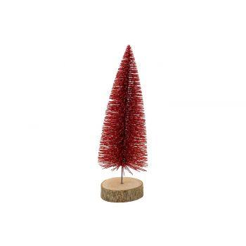 Cosy @ Home Xmas Tree Glitter Wood Base Red 8x8xh25c