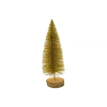 Cosy @ Home Xmas Tree Glitter Wood Base Gold 8x8xh25