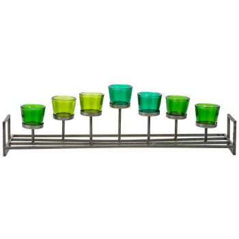 Cosy @ Home Tealight Holder Green 71,5x15xh21cm Meta