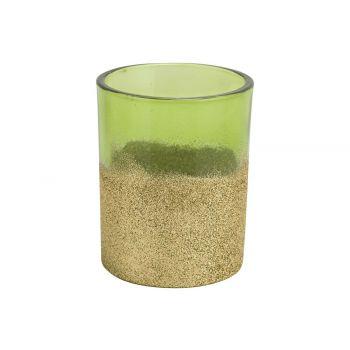 Cosy @ Home Tealight Holder Glitter Green 8x8xh10cm
