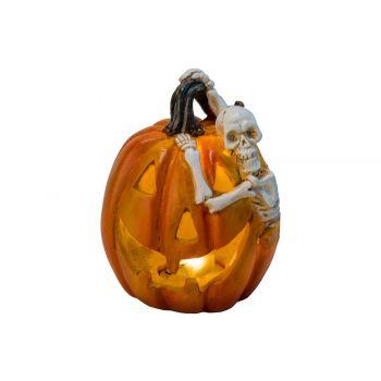 Cosy @ Home Pumpkin Skelet Led  Orange 9,5x8,5xh11cm