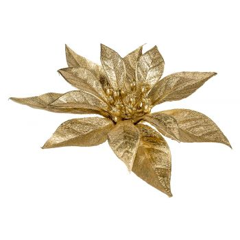 Cosy @ Home Poinsettia Clip Metallic Glitter Gold 18