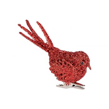 Cosy @ Home Bird Clip Glitter Red 12x4xh10cm Synthet