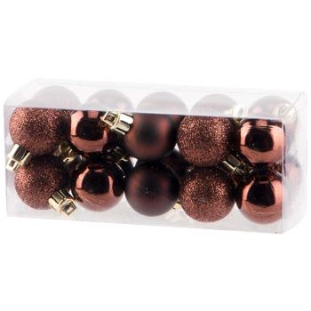 Cosy @ Home Xmas Ball Set20 Mix Chocolate D3cm Synth