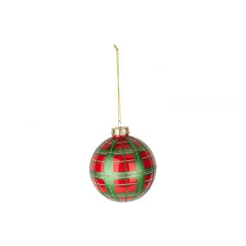 Cosy @ Home Xmas Ball Checkers Red Green D10cm Glass