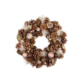 Cosy @ Home Checkers Wreath Copper D35xh8cm Wood