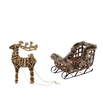 Cosy @ Home Rope Deer And Sledge Nature 70x22xh45cm