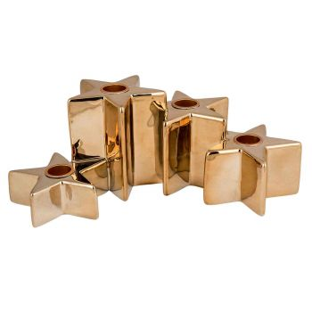 Cosy @ Home Candle Holder 4 Stars Gold 24,5x14,5xh9,