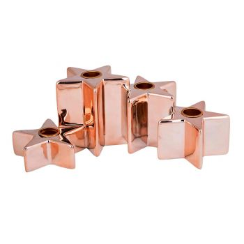 Cosy @ Home Candle Holder 4 Stars Copper 24,5x14,5xh