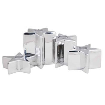 Cosy @ Home Candle Holder 4 Stars Silver 24,5x14,5xh