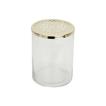 Cosy @ Home Vase Metal Lid Transparent 15x15xh20cm C