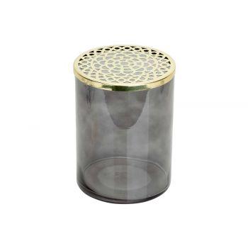 Cosy @ Home Vase Metal Lid Grey 15x15xh20cm Cylindri