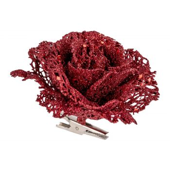 Cosy @ Home Rose Clip Glitter Red 10x10xh8cm Synthet