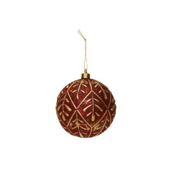 Cosy @ Home Xmas Ball Gold Leaves Dark Red D10cm Syn