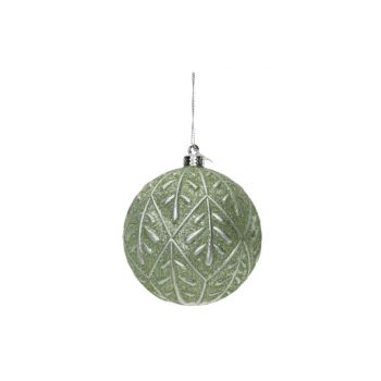 Cosy @ Home Xmas Ball Silver Leaves Mint D10cm Synth