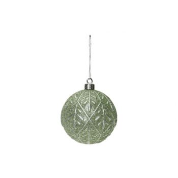 Cosy @ Home Xmas Ball Silver Leaves Mint D8cm Synthe