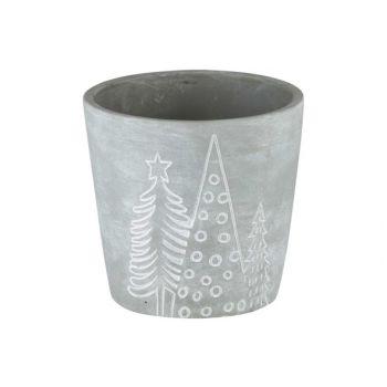 Cosy @ Home Flowerpot Xmas Trees Grey 13x13xh12cm Ce