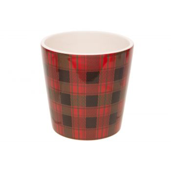 Cosy @ Home Flowerpot Tartan Red 11x11xh11cm Conical