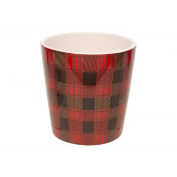 Cosy @ Home Flowerpot Tartan Red 13x13xh13cm Conical