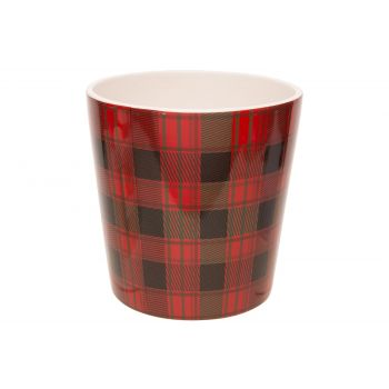 Cosy @ Home Flowerpot Tartan Red 15x15xh15cm Conical