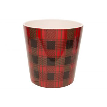 Cosy @ Home Flowerpot Tartan Red 17x17xh17cm Conical