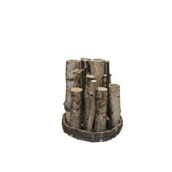 Cosy @ Home Vase X4 Trunc Nature D15xh18cm Wood