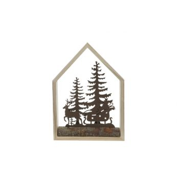 Cosy @ Home Xmas House Nature 15x4xh21cm Wood