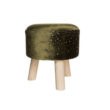 Cosy @ Home Stool Strass Green D33xh32cm Wood