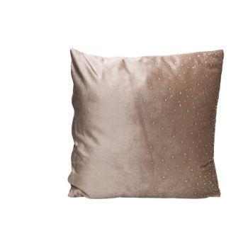 Cosy @ Home Cushion Strass Greige 45x45xh10cm Velvet