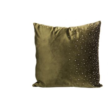 Cosy @ Home Cushion Strass Green 45x45xh10cm Velvet