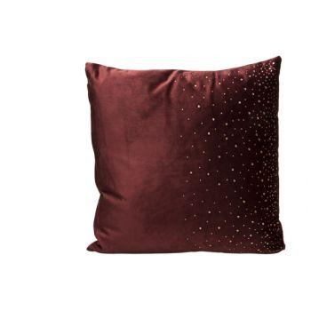 Cosy @ Home Cushion Strass Burgundy 45x45xh10cm Velv