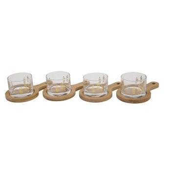 Cosy & Trendy Set Of 8 Tasting Glass Wooden Tray