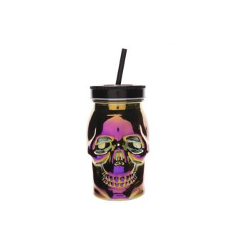 Cosy & Trendy Skull Cup With Straw Cup Violet 9x9xh15c
