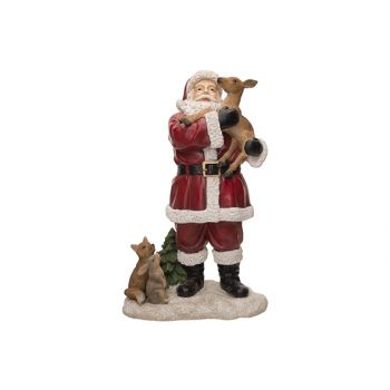 Cosy @ Home Weihnachtsmann With Deer Red 17x10xh27cm