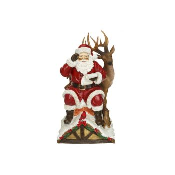 Cosy @ Home Weihnachtsmann With Deer On Roof Red 16x