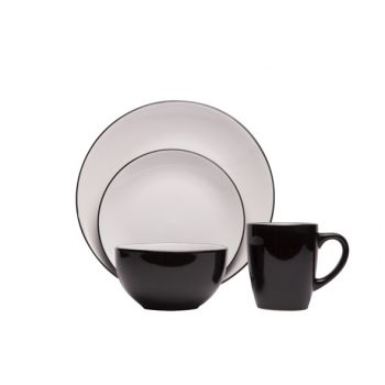 Cosy & Trendy Ancona Black-white Dinner Set 16pcs