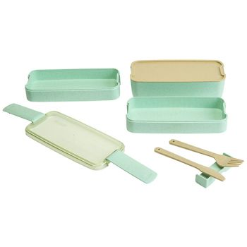 Cosy & Trendy Eco-fibre 3-layers Lunchbox Green Knife