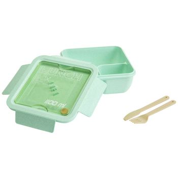 Cosy & Trendy Eco-fibre Lunchbox Green Cutlery Brown