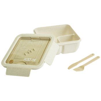 Cosy & Trendy Eco-fibre Lunchbox White Brown Cutlery