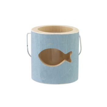 Cosy @ Home Tealight Holder Fish Blue 10x10xh10cm Wo