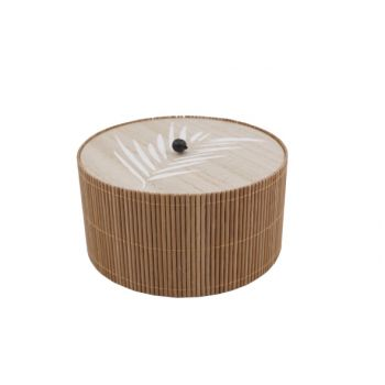Cosy @ Home Box Brown 14,8x14,8xh8cm Round Wood
